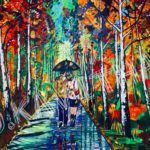 Autumn Park , a romantic moment under the umbrella