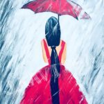 Red Lady with a Red Umbrella
